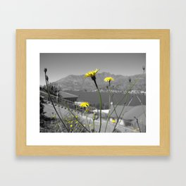 Flowers and Mountains Framed Art Print