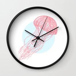 Red Jellyfish Wall Clock