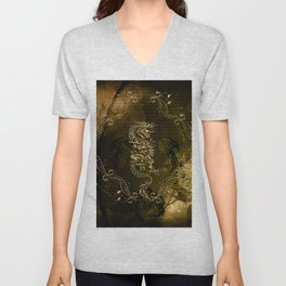 Wonderful golden chinese dragon Unisex V-Neck