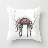 antler Throw Pillows featuring Antler Headdress by Nicole Gaitan