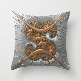 Metallic sculptured abstract in copper and silver Throw Pillow