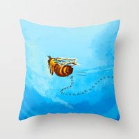 pushing daisies Throw Pillows featuring I'm pushing up my daisies for you by Rahciach