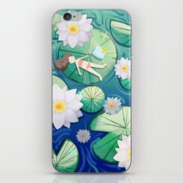 Girl Lay On Lotus iPhone Skin