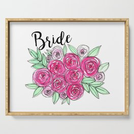 Bride Wedding Pink Roses Watercolor Serving Tray