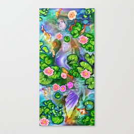 Mermaid in the lily pond Canvas Print