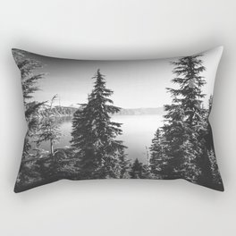 Mountain Lake Forest Black and White Nature Photography Rectangular Pillow
