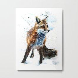Fox watercolor Metal Print