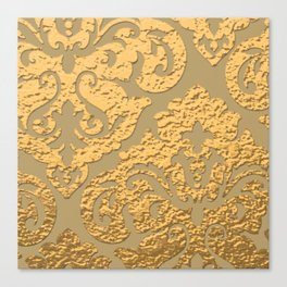 Gold Metallic Damask Print Canvas Print