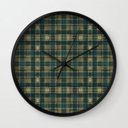 Green/Blue/Orange Plaid/Hounds-tooth Mix Wall Clock