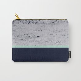 Navy Blue Mint on Navy Blue Concrete #1 #decor #art #society6 Carry-All Pouch
