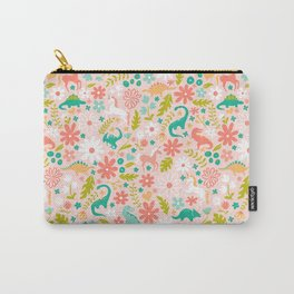Dinosaurs + Unicorns in Pink + Teal Carry-All Pouch