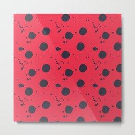 Abstract red black watercolor polka dots brushstrokes splatters Metal Print