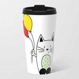 Cat with balloons Travel Mug