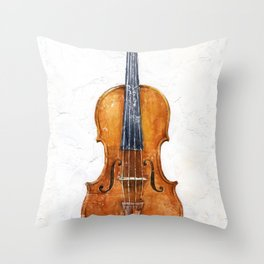 Violin (watercolor on textured background) Throw Pillow