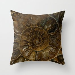 Earth treasures - brown amonite Throw Pillow