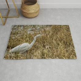 Great Egret Among the Rushes Rug