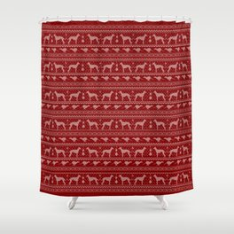 Ugly Christmas sweater | Greyhound / Whippet / Italian greyhound red Shower Curtain