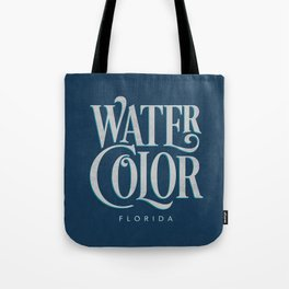 Watercolor, FL Typography (Blue) Tote Bag