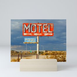 Vintage Motel Road Sign Mini Art Print