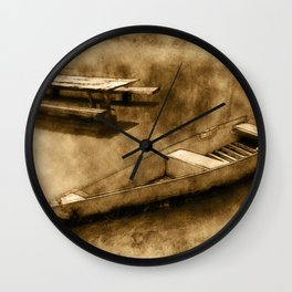 Boat and table on the water Wall Clock