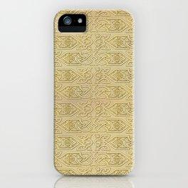Golden Celtic Pattern on canvas texture iPhone Case