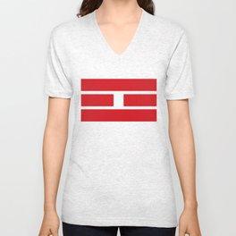 i Ching red lines Unisex V-Neck