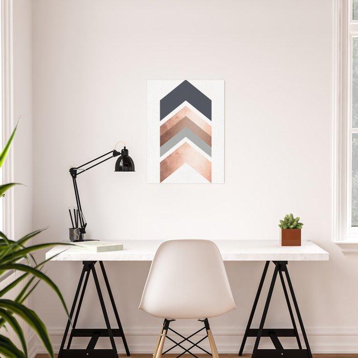 Grey, Bronze Chevron Home Decor Design Poster By Anne