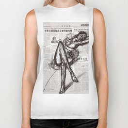 Brave - Charcoal on Newspaper Figure Drawing Biker Tank