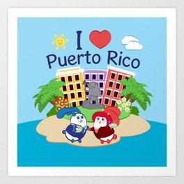 Ernest & Coraline   I love Puerto Rico Art Print