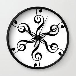 Treble Clef Hexaflower Wall Clock