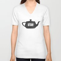 utah V-neck T-shirts featuring Utah Teapot by Chad Ashley