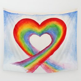 rainbow heart watercolor Wall Tapestry