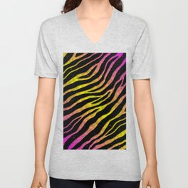 Ripped SpaceTime Stripes - Pink/Yellow Unisex V-Neck