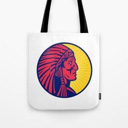Old Native American Chief Headdress Circle Tote Bag