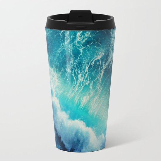Waving Blue Metal Travel Mug