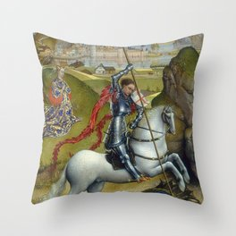 Saint George and the Dragon Oil Painting by Rogier van der Weyden Throw Pillow