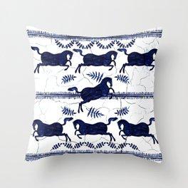 Ancient Greek Fresco - Navy Throw Pillow