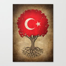 Vintage Tree of Life with Flag of Turkey Canvas Print