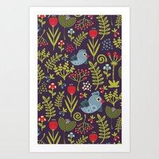 Folk birds.  Art Print