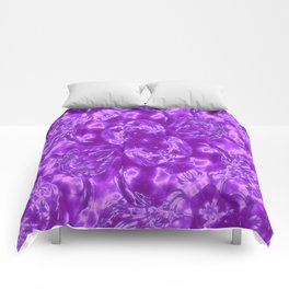 Ultra Violet and White Fashion Design Comforters