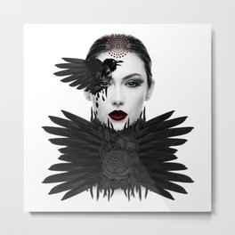Weeping Gaia / Dark Angel Goddess Modern Feminine Art Metal Print
