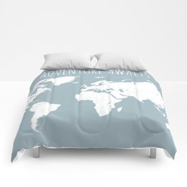 Adventure Awaits World Map in Slate Blue Comforters