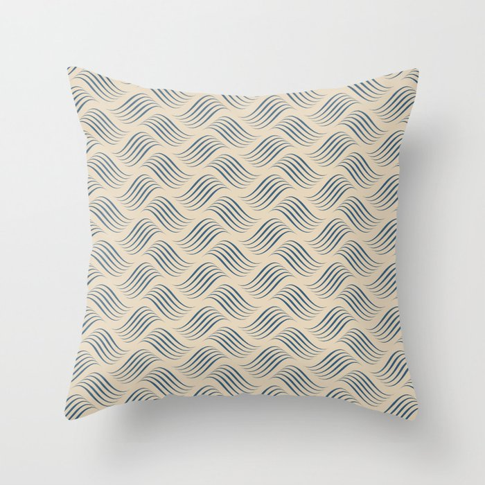 Blue & Beige Wavy Tessellation Line Pairs To 2020 Color of the Year Chinese Porcelain PPG1160-6 Throw Pillow