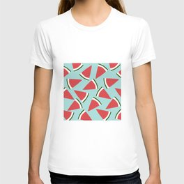 Trendy Watermelon Red and Mint Summer Design T-shirt