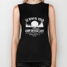 summer 1980 camp crytall lake swimming boating adventure wessex county jn est 1935 swimming t-shirts Biker Tank