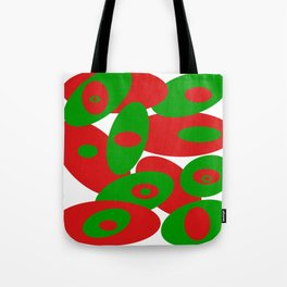 Red and Greens Orbs Tote Bag