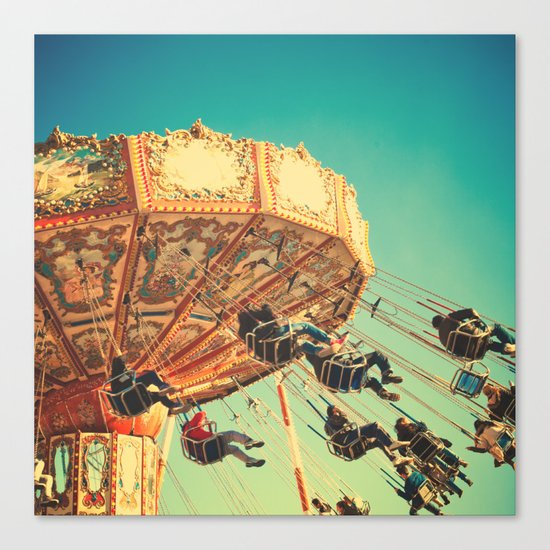 Vintage Chain Swing Ride on Blue Sky  Canvas Print
