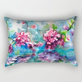 CHERRY TREE MIRRORING IN THE WATER - WATERCOLOR Rectangular Pillow