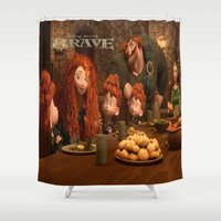 be brave Shower Curtains featuring Brave by store2u