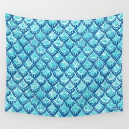 MERMAID SPARKLE Fish Scales Scallop Watercolor Wall Tapestry